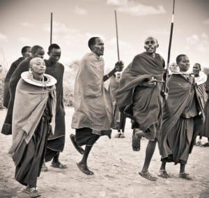Masai warriors dancing tradi