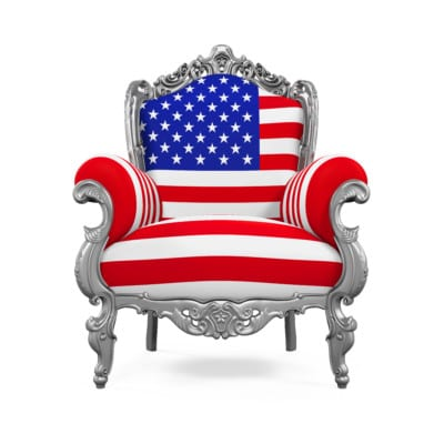 Throne Chair with USA Flag isolated on white background. 3D render